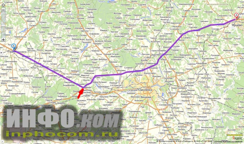 На автомобиле из Москвы в Витебск. Объезд Смоленска и съезд с Минского шоссе