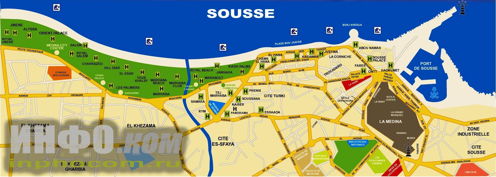 Тунис, Сусс, отели Медины (более наглядно)